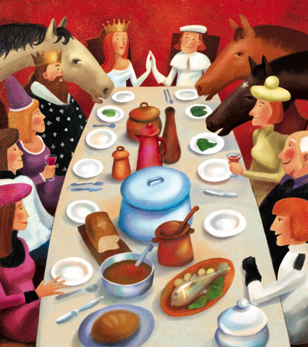 """Ilustração para o livro \""""Contos do Brasil\"""". \""""Os três cavalos\""""."""